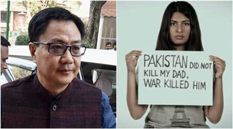 Gurmehar kaur, Gurmehar Kaur video, ABVP, Ramjas college protests, Kiren rijiju, ABVP Ramjas college, ABVP Ramjas college protests, Kiren Rijiju Kargil martyr daughter, india news