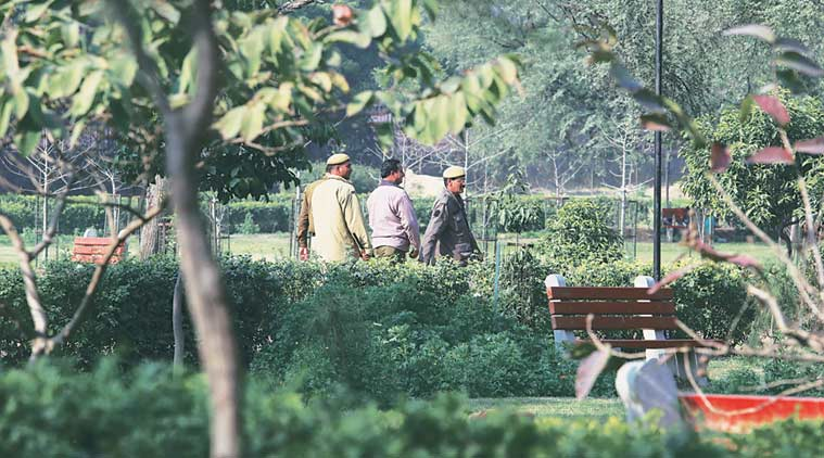 Delhi Police survey Japanese Park in Rohini on Tuesday. (Express Photo by Prem Nath Pandey)