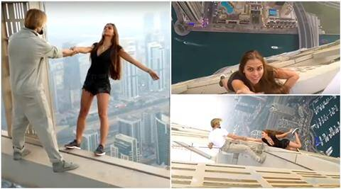russian model dubai selfie, russian model selfie stunt, russian model dubai video, russian model hanging down, russian model dubai stunt, russian model daredevil video, Viktoria Odintcova instagram, Viktoria Odintcova stunt, Viktoria Odintcova video, Viktoria Odintcova life risk selfie, Viktoria Odintcova selfie, indian express, indian express news