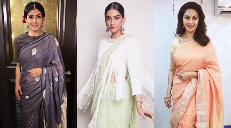 Raveena Tandon (L), Sonam Kapoor (C) and Madhuri Dixit chose to go the ethnic way but their sari's and the styling was unique to them. (Source: Instagram)