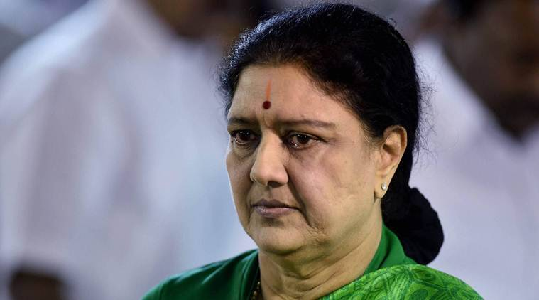 Chennai: AIADMK General Secretary VK Sasikala before leaving for meeting with Governor CH Vidyasagar Rao at former Chief Minister J Jayalalithaa's memorial in Chennai on Thursday. PTI Photo by R Senthil Kumar(PTI2_9_2017_000299A)