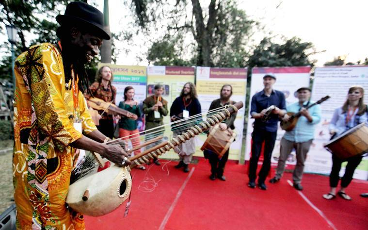 Artists from Sweden, Russia, Czech Republic, Denmark do their  performances at Sur Jahan, the Eastern India's biggest World Peace Music festival in Kolkata at Mohar Kunj. The festival  from February 3 to 5. Express photo by Subham Dutta. 02.02.17