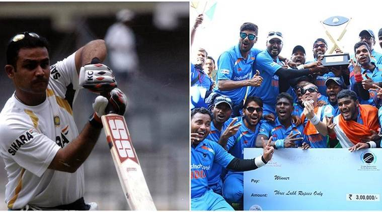 virender sehwag, sehwag, virender sehwag twitter, sehwag twitter, t20 world cup, t20 blind world cup, india t20 blind world cup champions, india vs pakistan, india pakistan final t20 world cup, blind cricketers, cricket news, sports news