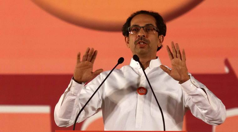 Shiv Sena executive president Uddhav Thackeray addressing rally for the Mumbai Municipal corporation election, at Bandra Kurla complex in Mumbai on Saturday. Express photo by Prashant Nadkar, 18th February 2017, Mumbai.