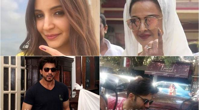 Shah Rukh Khan, Anushka Sharma, Rekha vote in BMC polls 2017. Varun Dhawan's name goes missing