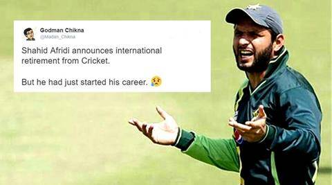 shahid afridi, shahid afridi retirement, shahid afridi retirement tweets, shahid afridi retirement twitter trolls, shahid afridi retirement international cricket, shahid afridi cricket, shahid afridi cricketer, shahid afridi retirement T20, shahid afridi retirement ODI, indian express, indian express news