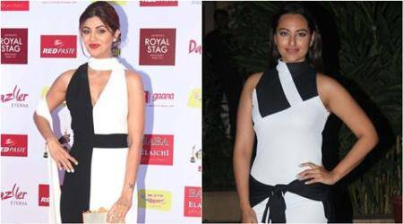 shilpa shetty, sonakshi sinha, monochrome fashion, monochrome bollywood celebs, bollywood actress monochrome look, shilpa shetty looks, sonakshi sinha looks, shahid kapoor birthday pictures, bollywood news, entertainment news, fashion news, indian express