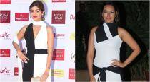 Shilpa Shetty or Sonakshi Sinha, thigh-high slit gown or a sporty short dress - who worked the monochrome better?