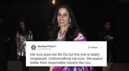 mumbai police, shobhaa de, mumbai police shobhaa de twitter spat, shobha de mumbai police body shaming tweet, trending news, mumbai news, mumbai elections, bmc elections, latest news, indian express