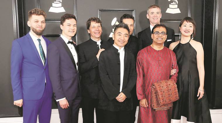 Members of the Silk Road Ensemble arrive at the 59th Annual Grammy Awards in Los Angeles; (below) Sandeep Das with the Grammy