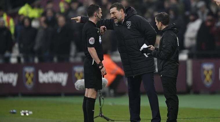 Slaven Bilic was sent off by referee after venting his anger on a pitch-side television microphone