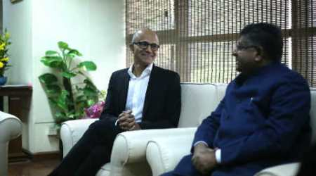 Microsoft, Satya Nadella, Microsoft CEO, Ravi Shankar Prasad, Nadella Prasad meeting, Digigaon, Future decoded, Ravi shankar Prasad meets Nadella, Microsoft Flipkart deal, cloud computing, artificial intelligence, technology, technology news