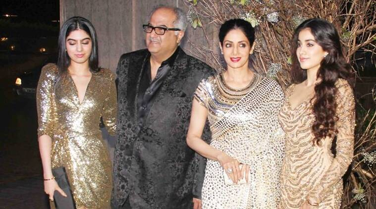 Sridevi and her daughters Jhanvi Kapoor (extreme right) and Khushi Kapoor (extreme left) are high on fashion. (Source: Varinder Chawla)