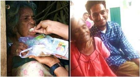 man who helped starving woman, guy helping a starving woman, starving woman for 2 months, woman starving for 2 months, charan prasad, charan prasad facebook, indian express, indian express news