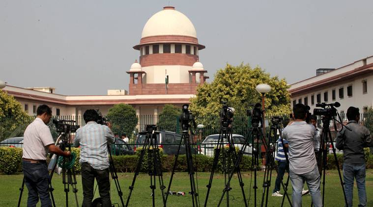 Media during the hearing on the National Judicial Appointments Commission (NJAC) act at Supreme court in New Delhi on Oct 16th 2015. Express photo by Ravi Kanojia