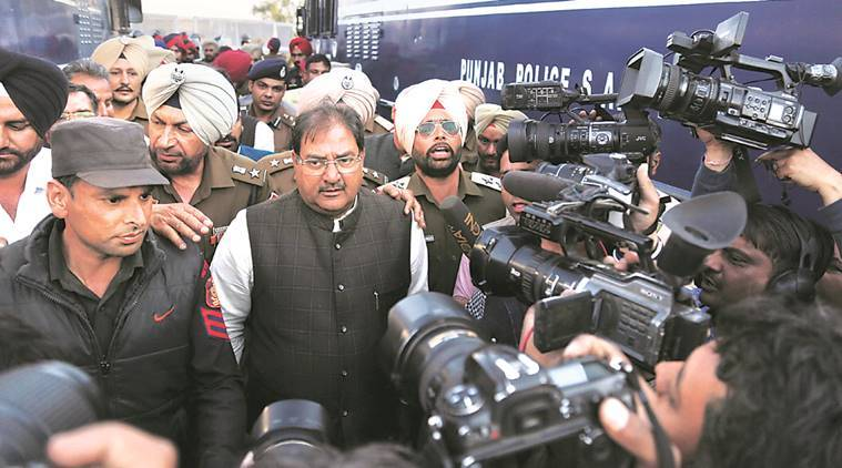 Leader of Opposition in Haryana Assembly Abhay Singh Chautala after he courted arrest at Shambhu Barrier during  INLD's protest on the Sutlej-Yamuna Link issue on Thursday. Jaipal Singh