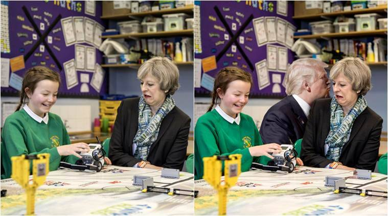 Theresa May, Theresa May children, Theresa May school children, Theresa May children meme, Theresa May children meme, Theresa May met children Theresa May met schoolkids, Theresa May children expression, viral news, latest news, indian express, UK news