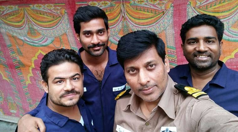 Some of the submarine crew along with Thiruveer (second from left)