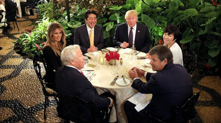 Japanese Prime Minister Shinzo Abe and his wife Akie Abe attend dinner with U.S. President Donald Trump and his wife Melania at Mar-a-Lago Club in Palm Beach, Florida U.S., February 10, 2017. REUTERS/Carlos Barria TPX IMAGES OF THE DAY