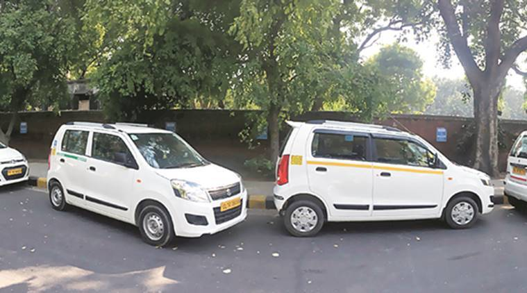 Uber and Ola cabs parked near Jantar Mantar as the strike by the app-based operators entered the fourth day Monday. Abhinav Saha