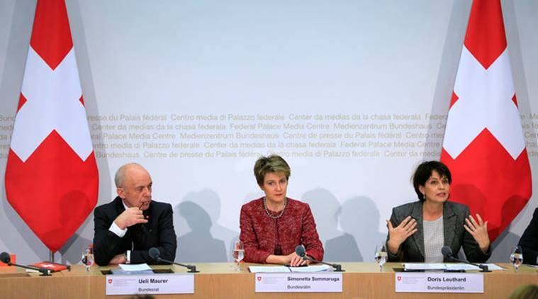 (L to R) Swiss Finance Minister Ueli Maurer, Swiss Justice Minister Simonetta Sommaruga and Swiss President Doris Leuthard attend a news conference after the vote on the Corporate Tax Reform Act III in Bern, Switzerland February 12, 2017. REUTERS/Pierre Albouy