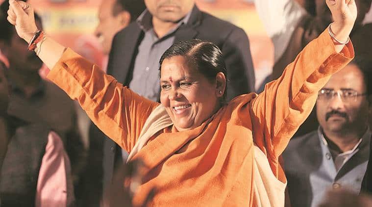 Uma Bharti at a rally in Lucknow on Friday. Vishal Srivastav