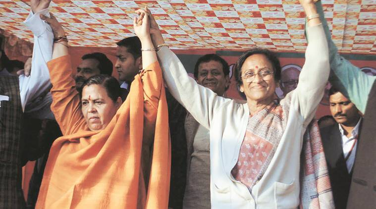 Uma Bharti campaigns with Rita Bahuguna Joshi in Lucknow on Saturday. Vishal Srivastav