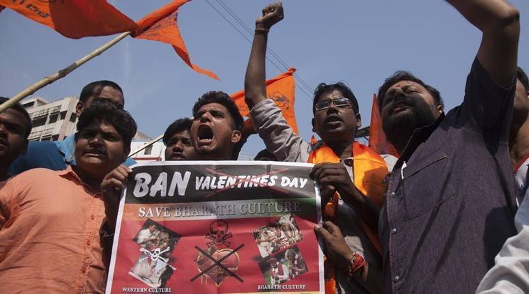 valentine's day, bajrang dal valentine's day india, indonesia valentine's day protest, pakistan valentine's day ban, malaysia valentine's day protest, muslim countries valentine's day, indian express news, valentine's day india protests, valentine's day shiv sena, valentine's day ban, valentine's day hindu groups