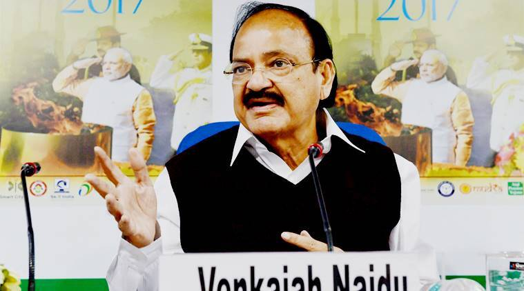 New Delhi: Minister for Information and Broadcasting, M. Venkaiah Naidu speaks at the release of the annual year book India-2017 (Bharat-2017) published by Publications Division, in New Delhi on Monday. PTI Photo by Manvender Vashist (PTI2_6_2017_000193A)
