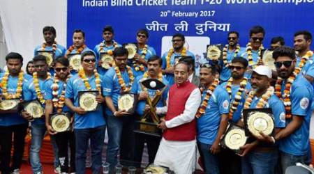 Vijay Goel felicitates Blind Cricket Team
