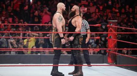 The clash of the giants between Big Show and Braun Strowman required a reinforced ring.  (Source: WWE)