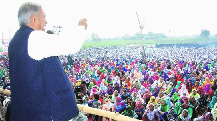 AIJASS chief Yashpal Malik addresses a dharna at Jassia village of Rohtak district Thursday. Express