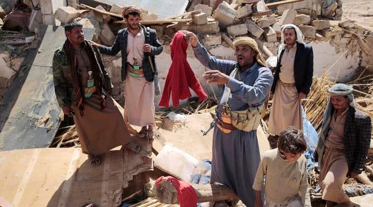 Saudi-led coalition, Yemen airstrike, Yemen airstrike reports, Yemen funeral airstrike, Yemen funeral airstrike probe, world news, indian express news