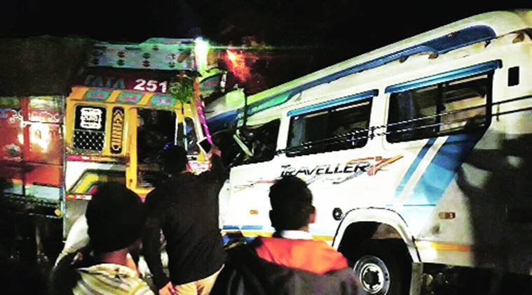 Arm, wrist of 2 passengers ripped off as bus grazes truck