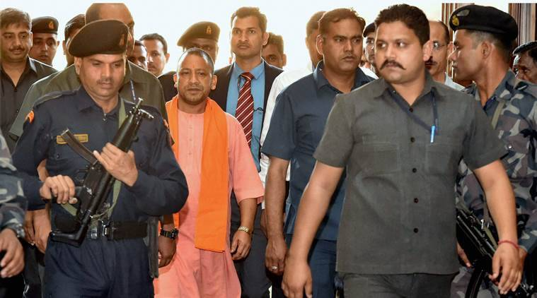 Lucknow, Yogi Adityanath, Yogi Adityanath suprise visit, Adityanath Hazratganj police station, Adityanath Lucknow suprise visit, Adityanath police officials, Adityanath law and order, UP law and order, goondaraj UP, India news