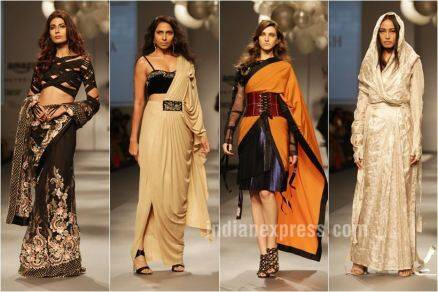 aifw aw 2017, amazon india fashion week, Abraham & Thakore, Manish Malhotra, Raw Mango, Rahul Mishra, Abu Jani Sandeep Khosla, Suneet Varma, Bodice, Huemn, Rara Avis, Payal Singhal, Anita Dongre, sari fashion, sari 24/7, celeb fashion, indian fashion, indian express, indian express news