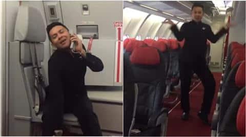 airasia, airasia flight attendant video, toxic video airasia, airasia britney spears toxic, airasia flight dance video, indian express, indian express news