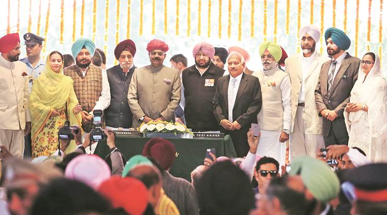 Captain Amarinder Singh, Captain Amarinder Singh oath, punjab electiosn 2017, punjab elections, punjab polls, congress, punjab elections result, indian express news, india news