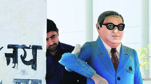 Ambedkar statue vandalised in Noida
