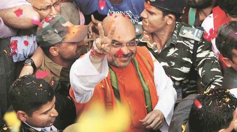 Uttar pradesh election results 2017, UP poll results, Amit shah, Narendra Modi, Modi, PM Modi, Uttar Pradesh assembly elections 2017, UP polls 2017, BJP, BJP winner, BJP win, BJP victory, election verdict, UP poll verdict, Rajnath singh, Congress, sp, bsp, akhilesh yadav, rahul gandhi, UP news, india news, indian express news
