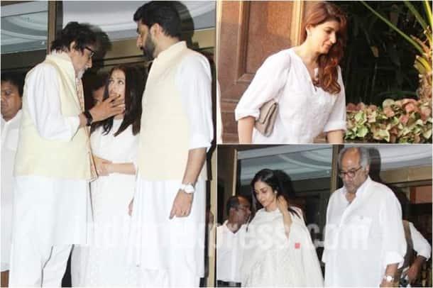 aishwarya rai father, aishwarya rai bachchan, aishwarya father prayer meet, amitabh bachchan, abhishek bachchan, twinkle khanna, sridevi, boney kapoor, aishwarya father prayer meet images