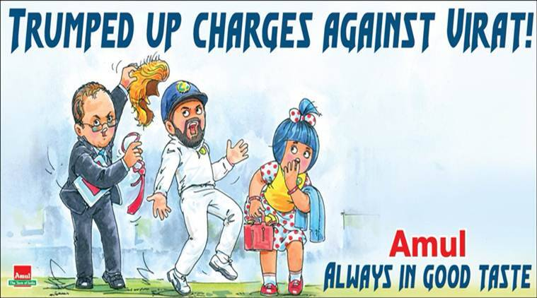 virat kholi, india vs australia, ind vs australia, virat kohli trump, amul, amul virat trump cartoon, virat trump comparison, aus media compare virat trump, amitabh bachchan, sports news, Indian express