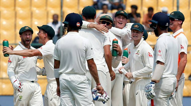 Cricket - India v Australia - Second Test cricket match - M Chinnaswamy Stadium, Bengaluru, India - 06/03/17 - Australia's players celebrate the wicket of India's captain Virat Kohli. REUTERS/Danish Siddiqui