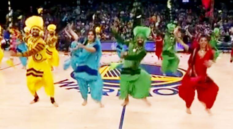 bhangra in NBA, bhangra in NBA match, bhangra empire, bhangra empire dances during nba match, bhangra during basketball match, indian express, indian express news