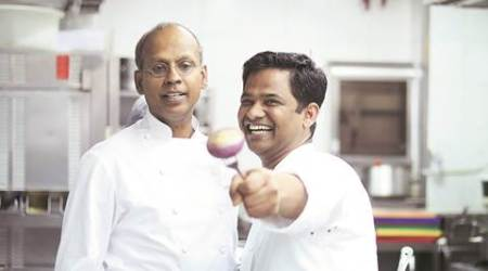 Chefs Sriram Aylur (left) and Srijith Gopinathan Nirmal Harindran; Fisherman's Catch from chef Aylur's Quilon ; chef Gopinathan's signature Spice Pot (top right)