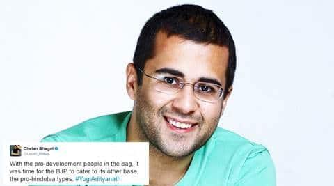 chetan bhagat tweets on yogi adityanath, chetan bhagat tweets, chetan bhagat political tweets, chetan bhagat controversial tweets, indian express, indian express news