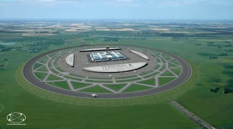 air traffic, circular runways, endless runway, airport-circular runway, sustainable airport, Henk Hesselink,centrifugal forces, circular runways, touchdown, noise pollution, congested airport, india news, indian express