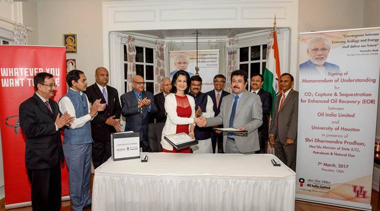 OIL, University of Houston, MoU, Dharmendra Pradhan, Petroleum & Natural Gas Minister, India business news, indian express news