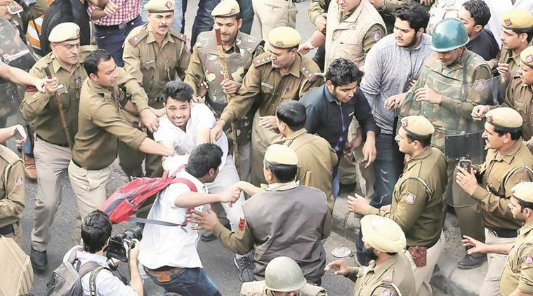 Delhi university, DU, DU protests, DU students protest, DU abvp, delhi university abvp, Ramjas row, ramjas violence, abvp ramjas, umar khalid, umar khalid ramjas, ABVP, india news, delhi news, indian express news
