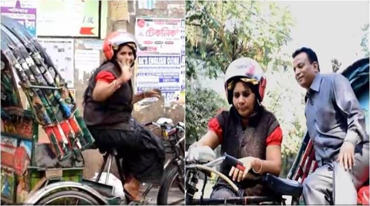 Bangladesh's first female rickshaw puller, first woman pulling rickshaw in Bangladesh, jasmine pulling rickshaw, female rickshaw puller, indian express, indian express news